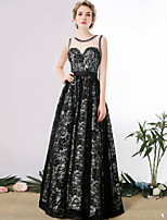Formal Evening Dress A-line Scoop Floor-length Lace with Crystal Detailing