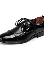 Черный / Коричневый-Мужской-Для офиса / На каждый день / Для вечеринки / ужина-Кожа-На низком каблуке-Удобная обувь-Туфли на шнуровке