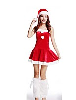 Christmas Costume /Holiday Halloween Costumes Red Solid Skirt / Garter / Hats Christmas Female Pleuche