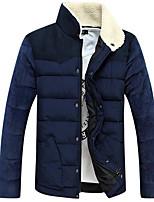 Пальто Простое Обычная На подкладке Мужчины,Однотонный На каждый день Полиэстер Полиэстер,Длинный рукав Воротник-стойка Синий / Бежевый