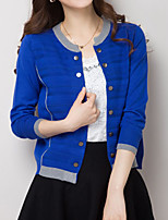 Women's Casual/Daily Plus Size Simple Regular Cardigan,Color Block Blue Pink Red Black Gray Green Orange Round Neck Long Sleeve Polyester