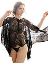 Women Chemises & Gowns / Lace Lingerie Nightwear,Sexy Solid-Thin Lace / Spandex Black Women's