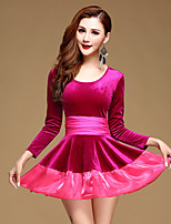 Latin Dance Dresses Performance Velvet Ruffles 1 Piece Long Sleeve Natural Dress