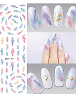DS271 Design Water Transfer Nails Art Sticker Harajuku Rainbow Feathers Nail Wraps Sticker