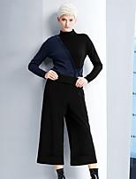 DL.FANG Women's Solid Black Wide Leg PantsSimple Fall / Winter
