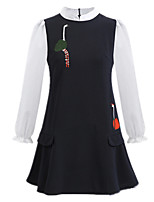 Winter Women Plus Size Dress Stand Collar Long Sleeve Embroidered A Line Dress Loose Casual