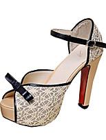 Women's Sandals Summer Comfort PU Dress Stiletto Heel Others Black / Beige Others