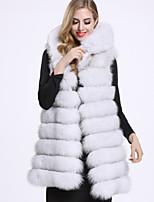 Женский На каждый день Однотонный Пальто с мехом Капюшон,Изысканный Зима Белый / Черный Без рукавов,Лисий Мех
