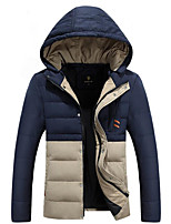 Men's Down Coat,Simple Casual/Daily Solid-Polyester White Duck Down Long Sleeve Hooded Blue / Green