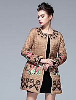 PROVERB Women's Casual/Daily Chinoiserie CoatEmbroidered Long Sleeve Fall / Winter Brown Polyester