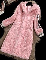 Женский На каждый день Однотонный Пальто с мехомПростое Зима Несколько цветов Длинный рукав,Мех осла,Толстая