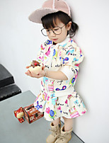 Girl's Casual/Daily Print Blouse / Skirt / Clothing SetCotton Spring / Fall White