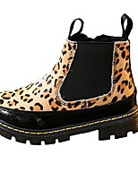 Girl's Boots Fall Winter Comfort Fur Dress Casual Flat Heel Zipper Black Animal Print Walking