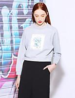 Tee-shirt Femme,Fleur Décontracté / Quotidien Actif Printemps / Automne Manches Longues Col Arrondi Gris Rayonne / Nylon / Spandex Moyen