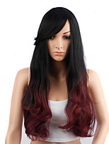 Long Wavy Hair Black and Red Color Synthetic Wigs for Women