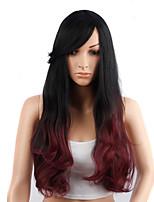 cheveux longs ondulés perruque noire et rouge synthétique pour les femmes