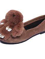נשים-נעליים ללא שרוכים-שיער עגל / PU-נוחות / מוקסין-שחור / אפור / קפה-שטח / קז'ואל-עקב שטוח