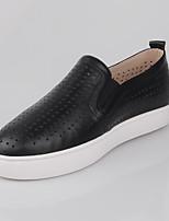 נשים-נעליים ללא שרוכים-עור-נוחות-שחור-קז'ואל-עקב שטוח