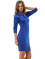 Women's Formal / Plus Size Sexy / Simple Sheath Dress,Solid Round Neck Knee-length ¾ Sleeve Blue / Red Polyester Spring / Fall High Rise