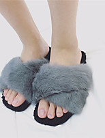 Women's Slippers & Flip-Flops Winter Slingback Fleece Casual Flat Heel Black / Green / Gray