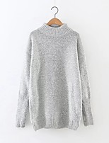 Women's Casual/Daily Simple Regular Pullover,Solid Blue / White / Gray / Green / Yellow / Purple Turtleneck Long SleeveCashmere /
