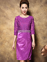 BRASSIA Women's Going out Sophisticated Shift DressSolid Round Neck Above Knee  Sleeve Purple Others Summer High Rise Inelastic Thin