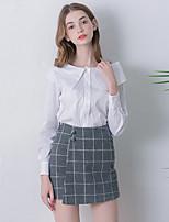 Chemise Femme,Couleur Pleine Sortie simple Automne Manches Longues Bateau Blanc Coton Moyen