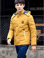 Men's Down Coat,Simple Casual/Daily Solid-Polyester White Duck Down Long Sleeve Stand Green / Yellow