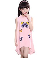 Girl's Casual/Daily Print Dress,Cotton / Others Summer Pink / White