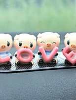 4Pcs Lovely Car Ornaments LOVE Little Pig Interior Decoration Interior Furnishing