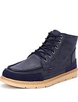 Men's Fashion Bullock Boots Casual Martin Boots Flat Heel Split Joint / Lace-up Black / Blue / Brown Walking EU39-43