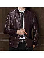 Men's Casual/Daily Simple Jackets,Solid Long Sleeve Winter Red / Black Polyester Medium
