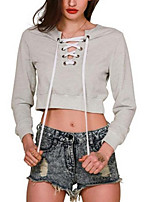 Women's Casual/Daily Simple / Active Short Hoodies,Solid Gray Deep V Long Sleeve Cotton Fall / Winter Medium Micro-elastic