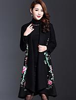 Женский На каждый день Вышивка Пальто V-образный вырез,Шинуазери (китайский стиль) Осень Черный Длинный рукав,Шерсть / Полиэстер,Средняя