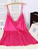 Ultra Sexy Vêtement de nuit Femme,Sexy Couleur Pleine-Mince Viscose Blanc Rose Gris Noir