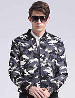 Men's Casual/Formal/Work Simple/Street chic Jackets Camouflage printed Stand Long Sleeve All Seasons Cotton /Polyester