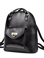 Sports Casual Backpack Women PU Beige Pink Blue Yellow Gold Silver Black