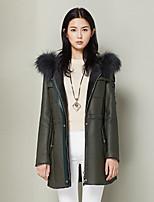 Feminino Casaco de Pelo Casual Simples Outono / Inverno,Sólido Cinza Lã Com Capuz-Manga Longa Grossa