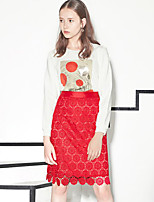 I'HAPPY  Women's Solid / Embroidered Red / White / Black SkirtsVintage Knee-length