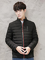 Men's Short Padded Coat,Simple Casual/Daily Solid-Polyester Polyester Long Sleeve Stand Blue / Red / Black / Gray