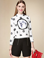 DOF Women's Casual/Daily Simple Short HoodiesPolka Dot / Print White Stand Long Sleeve Cotton Fall Thin Inelastic
