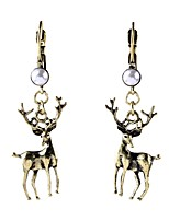 Luxury Gem Geometric Earrrings Exaggerated Christmas Deer Pearl Drop Earrings for Women Fashion Jewelry Best Gift