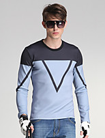 Men's Daily/Sports/Holiday Simple/Street chic Geometric Blue / Black Round Neck Long Sleeve Cotton
