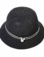 Women Spring Summer British Wind Pearl Dome Solid Color Straw Hat Eaves Sun Beach Caps