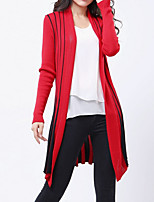 Women's Casual/Daily / Holiday Sexy / Street chic Long Cardigan,Striped Red / Black Peter Pan Collar Long Sleeve Cotton Fall / Winter