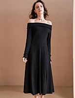 Women's Going out Simple A Line Dress,Solid Boat Neck Midi Long Sleeve Black Rayon / Polyester Winter High Rise Micro-elastic Medium