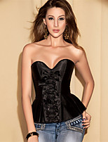 Women Sexy Push-Up Gather Solid Color Lace Up Bow Fold Shape Fitness Underbust Corset