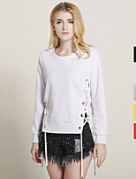 1287 Women's Going out / Casual/Daily Simple Hoodies Solid Red / White / Black / Gray / Yellow Round Neck Long Sleeve