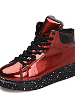 Men's Boots Spring / Fall Comfort / Round Toe PU Casual Flat Heel Others / Zipper / Lace-up Black / Red / Sliver