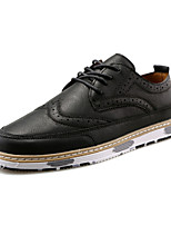 Men's Oxfords Fashion Bullock Shoes Casual Leather Shoes Flat Heel Lace-up Black / Brown / Dark Gray Walking EU39-43